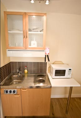 Warwick House apartments kitchenette